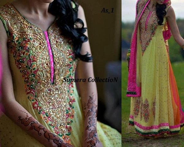 Mehndi Party Dresses : Mehndi bridal wear collection for women