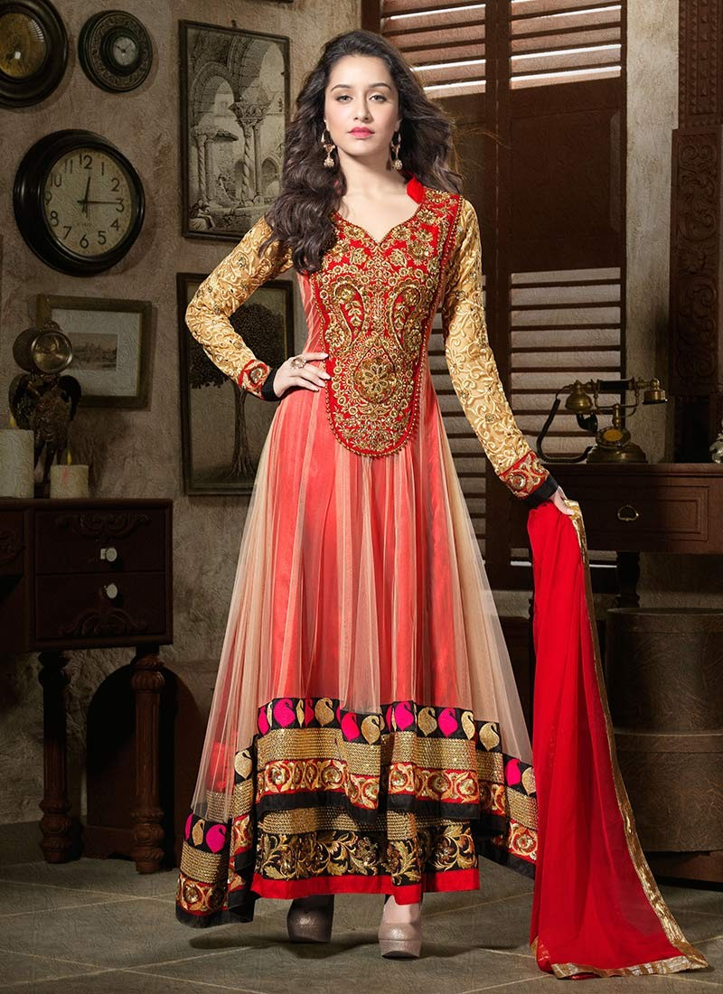Anarkali Suits Online On Shraddha Kapoor By Natasha Couture 2014 For Girls
