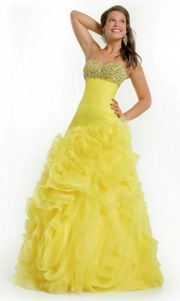Latest wedding gowns for bridals 2014 in yellow color for Yellow dresses for weddings