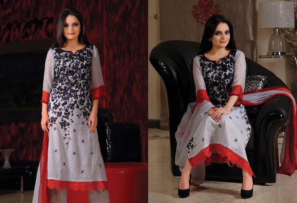 Armeena Khan New Formal Lawn Collection 2014 By Gohar Textiles