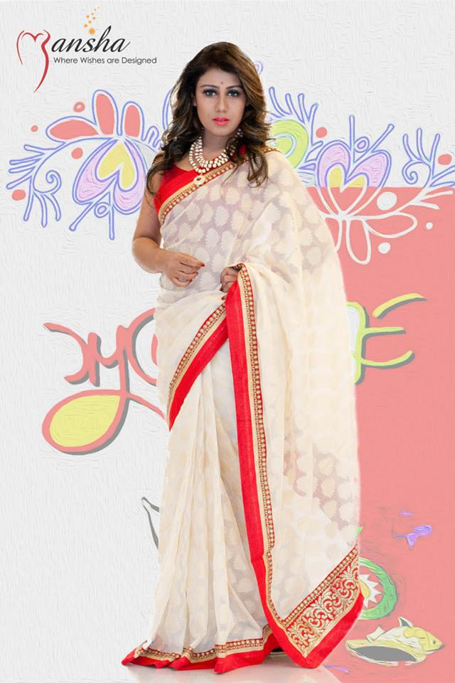 Exclusive Boishakhi Party Saree Wear Collection 2014 By Mansha For Girls