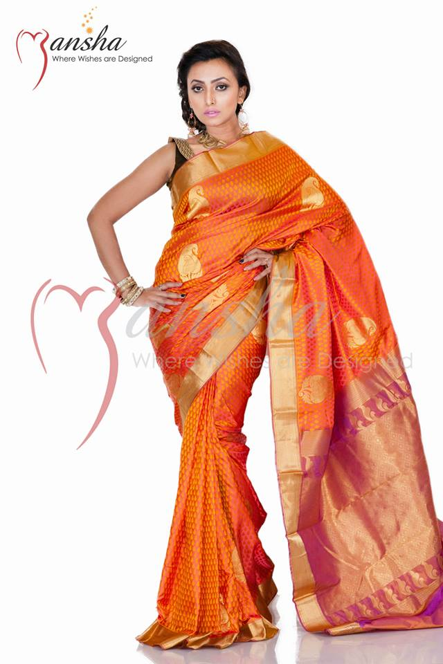 Kanchipuram Katan New Summer Saree Collection 2014 by Mansha