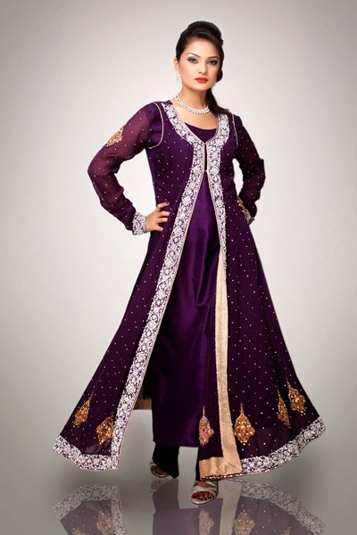 Pakistani Awesome Long Dress Collection 2014 Trends For Girls