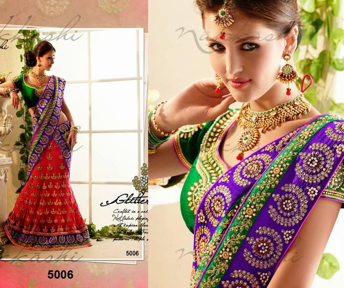 Indian Nakkashi Beautiful Sarees Dress Collection 2014 For