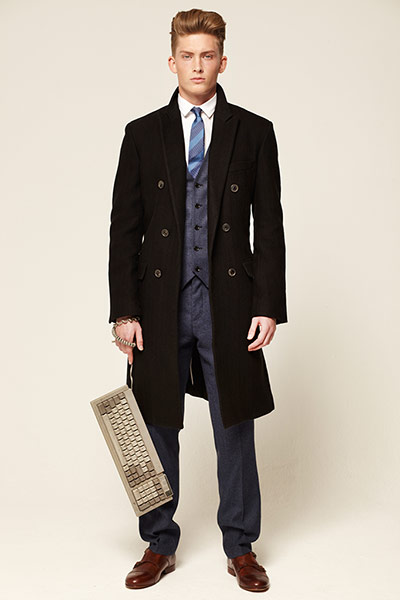 Male Model Wearing Black Work Coat Fashion Fist