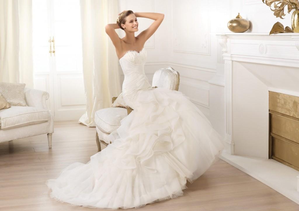Wedding Dresses Mermaid Organza for Bridals 2014