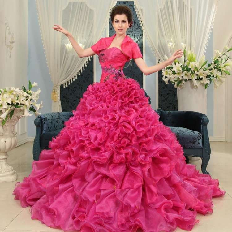 Pink Wedding Gowns Latest Designs 2014 - 2015 for Women