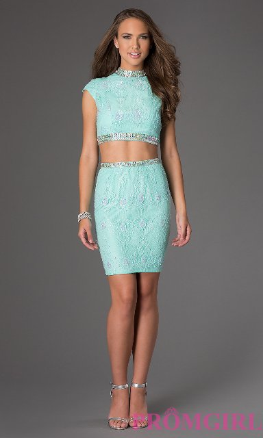 Two Piece Long Short Prom Dress Designs 2014 15 For