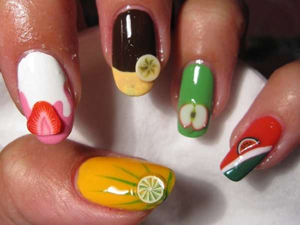 Fruit nail art new designs 2014 2015 for women to make simple nail art fruit watermelon design 2014 can choose shades of red and black red is mostly used as the base layer and the black color will be prinsesfo Image collections