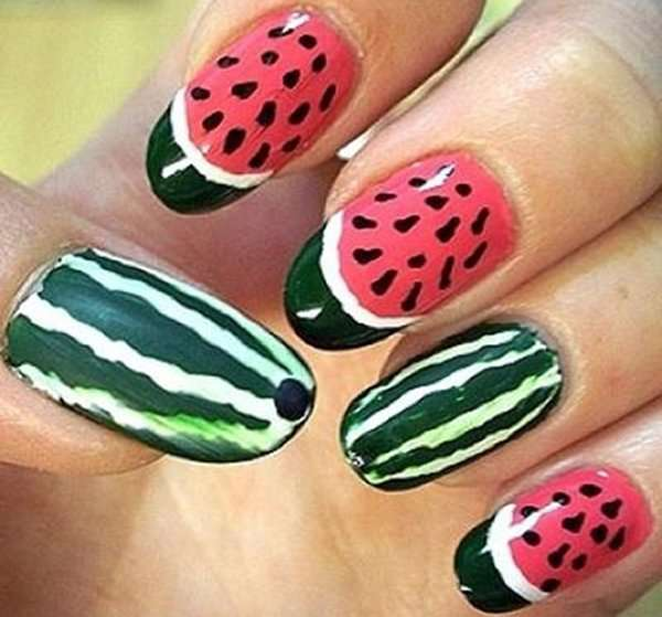 Fruit nail art new designs 2014 2015 for women to make simple nail art fruit watermelon design 2014 can choose shades of red and black red is mostly used as the base layer and the black color will be prinsesfo Gallery