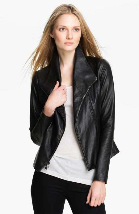 black leather jacket designs for women 2015