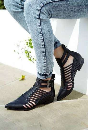 Black Leather Shoes 2015 For Ladies